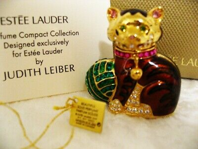 Judith Leiber for Estee Lauder CUDDLY KITTEN Solid Perfume Compact MIBB