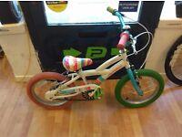 "White Striped 16"" Wheel kids bike single speed avigo brand bicycle working fine"