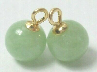 14K Yellow Gold Pair Round 6 mm Green Jade Interchangeable Earring Charms NEW