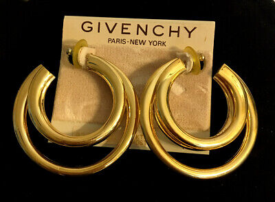 Vintage Givenchy Shiny Gold Large Double Hoop Earrings - Pierced
