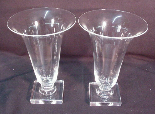 "PAIR OF MID CENTURY STEUBEN HAND BLOWN CRYSTAL TRUMPET VASES 8"" TALL"