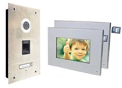 Fingerprint Türsprechanlage 2 x 7'' Monitor Gegensprechanlage Video Bildspeicher