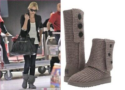 Authentic UGG Women's Classic Cardy Boots Shoes Knit Black, Grey 6 7 8 9 10  New Authentic Ugg Boots