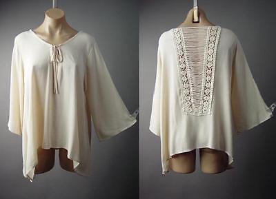 Medieval Renaissance Maiden Boho Peasant Crochet Back Top 146 mv Blouse S M L XL ()
