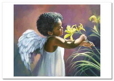 LITTLE GIRL Angel picking flowers Afro Black Russian Modern Postcard