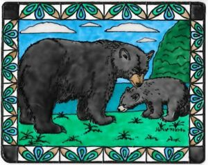 Black Bear Mother And Cub Stained Glass Painting