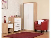 NEW Grey Red Black or White bedroom set Wardrobe, Chest of drawers & Bedside Only £225