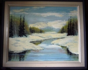 Winter Abstract, by Listed Artist Margrit Gatterbauer 1960's Stratford Kitchener Area image 1