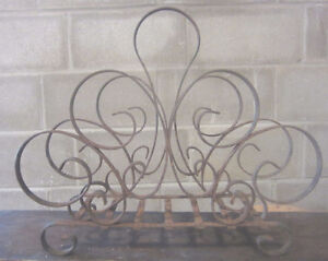 Vintage Heavy Industrial Wrought Iron Magazine Holder