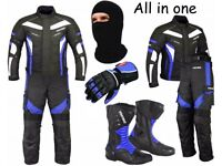 (Blue) 6 Packs Design Suit - Jacket + Trouser + Gloves + Boots (Long)