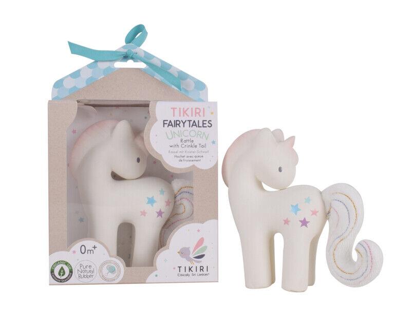 Eco Toys Tikiri Fairytales Candy Unicorn Natural Rubber Rattle /& Teether