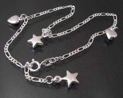 Fußkette 925 Sterling Silber Figarokette 23-25cm Charms Stern Herz FK11422-25
