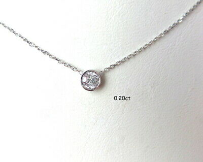 DIAMOND SOLITAIRE BEZEL SET NECKLACE 14K WHITE GOLD 0.20 CT SI1 Clarity G COLOR
