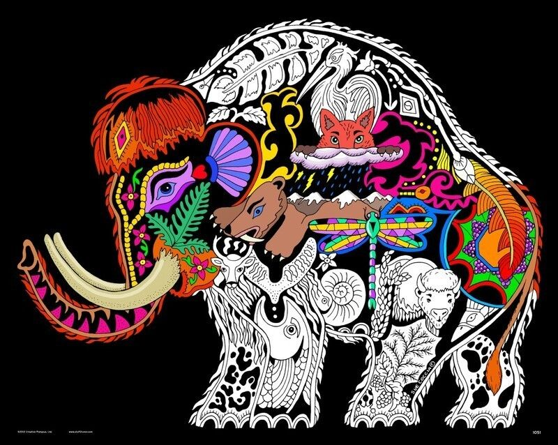 Wooly Mammoth - Large 16x20 Inch Fuzzy Velvet Coloring Poster