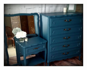 Hand Painted Dressers, Night Stand and Mirror