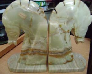 Marble Horsehead  Book ends  and Blue Mountain Horse statue