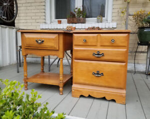 His and Hers Wood Nightstands