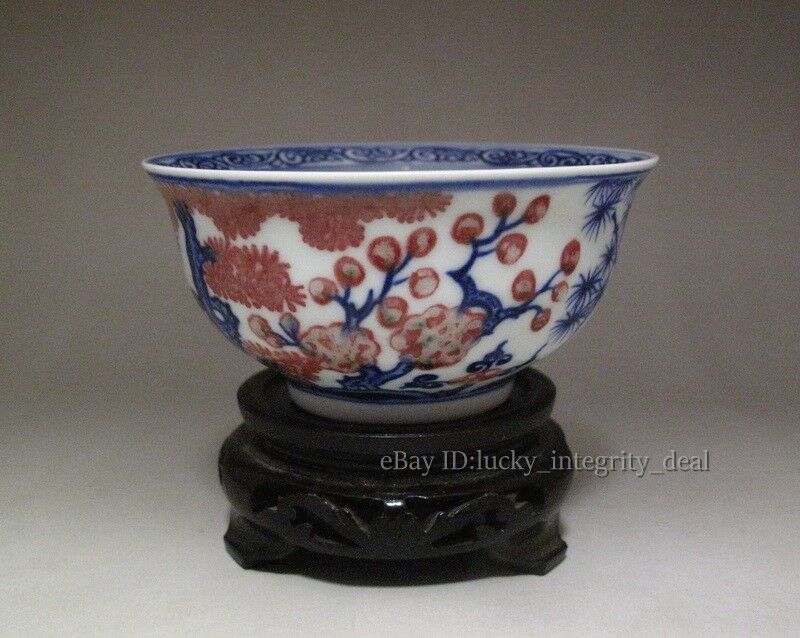 Beautiful Chinese Antique blue and white Underglaze red Porcelain Bowl Mark