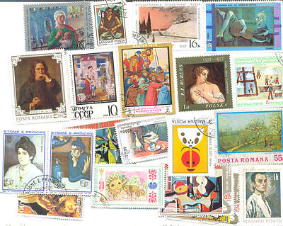 Paintings-200 all different stamps collection