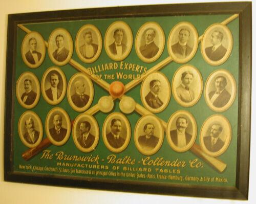 Antique Pool/Billiard/Table/Brunswick Billiard Experts of World Original Poster