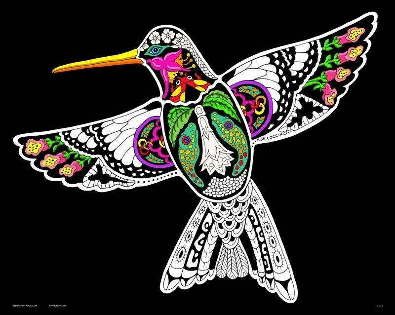 Hummingbird - Large 16x20 Inch Fuzzy Velvet Coloring Poster