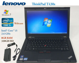 Lenovo ThinkPad  T430s,Core i5 2.6GHz,8GB,320GB/120GBSSD,Webcam,