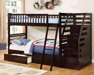 NEW! Twin/Twin Wood Bunk Bed w/ Storage Drawers, Free Delivery! Edmonton Edmonton Area image 8