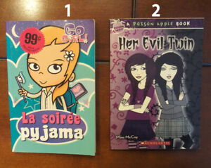 Livres Go Girl! et A poison apple book Her evil twin scholastic