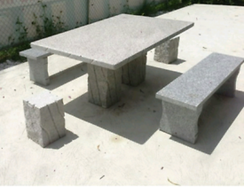 Natural stone tables and benchs