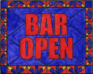 Bar Open Sign Stained Glass Painting