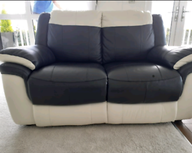 Cream & Black leather 2 seater sofa