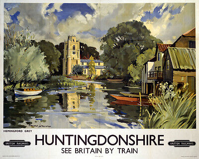 Vintage Rail advertising travel railway poster  A4 RE PRINT Huntingdonshire
