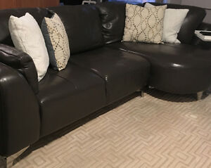 Dark grey leather sectional