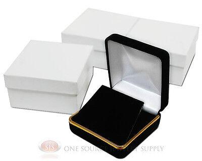 3 Piece Black Velvet Necklace Earrings Jewelry Gift Box 2 58 X 2 58 X 1 38