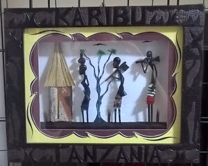 African Art Karibu Tasmania Shadow Box Wooden Picture Frame