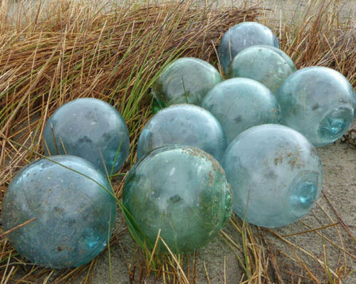 """Vintage Japanese Glass Fishing Floats, 4"""", Lot of 10"""