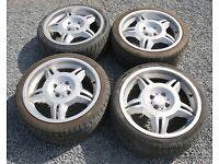 """BMW E30 4x100 Replica 17"""" Motorsport Alloy Wheels & Tyres E36 M3 325i Sport 318is 320i"""