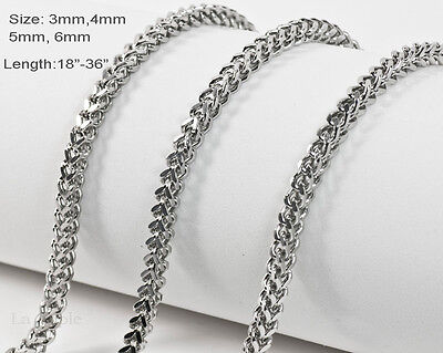 One Day Ship 4mm 6mm Mens 316 Stainless Steel Necklaces  Franco Chains 20
