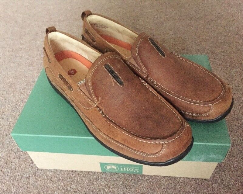 59263968 Men's Clarks Unstructured Mahogany Leather Casual Shoes Size 8 Brand New