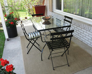 Vintage Wrought Iron Table & Four Chairs