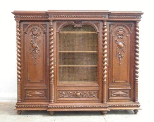 Antique French Renaissance Dark Oak Three Door Bookcase