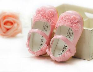 Nuevo-Bebe-Nina-Rosa-Fiesta-De-Bautizo-Zapatos-6-9-meses