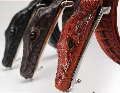 Men Alligator Design Crocodile-Embossed Leather Belts Genuine Cow Leather Belt 9