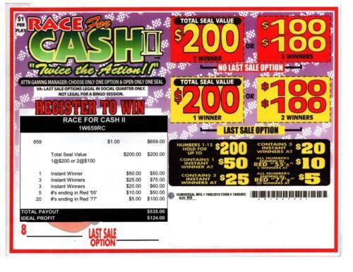 Seal Card 659ct 1W $1.00 RACING FOR CASH Bingo Tickets pull tab ($200)