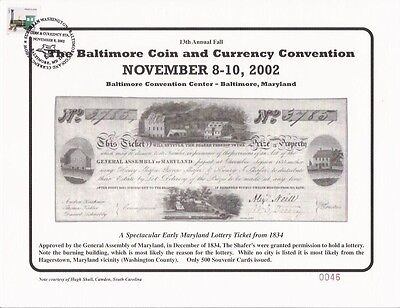 2002 Baltimore Coin Show Souvenir Card   1834 Maryland Lottery Ticket   Blt13sc