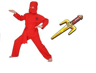 Fries Ninja Kostüm rot mit Lego Ninjago Dolch 104 - 164 ()