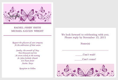 100 Personalized Custom Purple Scroll Butterfly Wedding Invitations Set