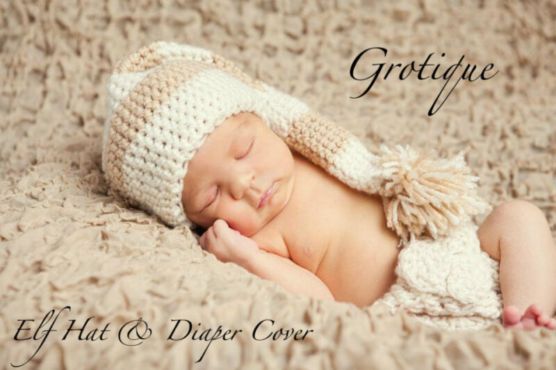 Elf Hat & Diaper Cover Set Photo Prop Size Newborn