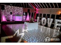 DJs, Discos, Photo Booths, Starlit Dance Floors, LOVE Letters, Starlit Backdrops, Uplighting