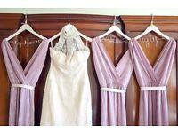 Preloved Pronovias Halterneck Champagne Lace Wedding Dress - Size 10